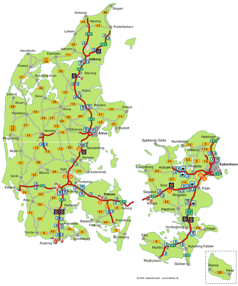 Карта автомобильных дорог Дании