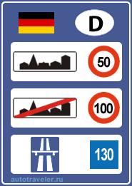 Ограничения скорости в Германии