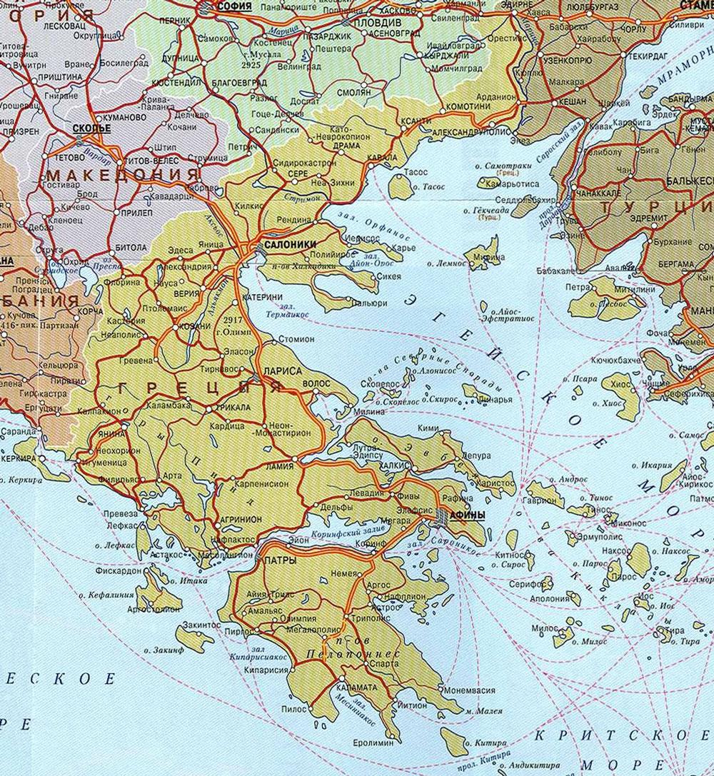 Řecko cestovní mapa