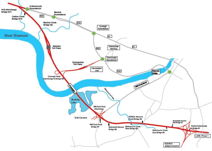 Ireland Limerick Tunnel map