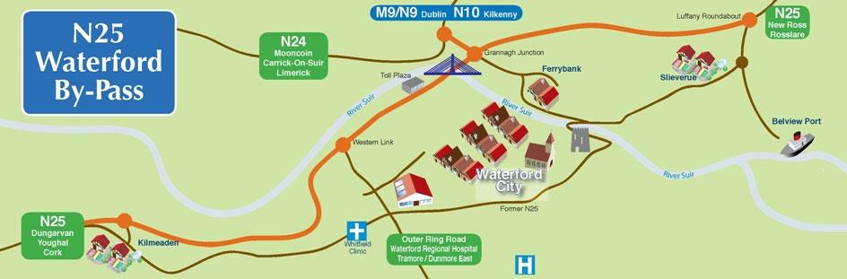 Motorway map Ireland N25