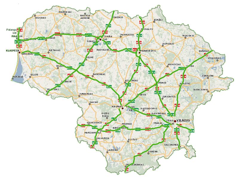 Carte routière de la Lituanie à péage