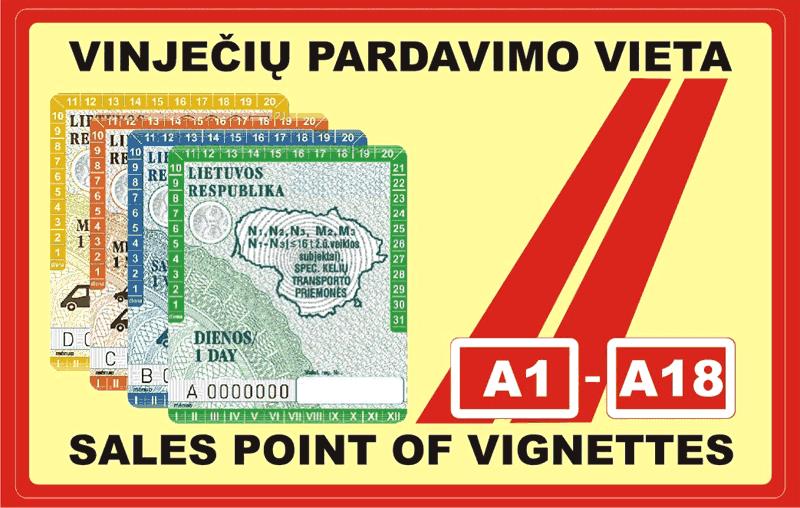 Signes de points de vente de vignettes en Lituanie