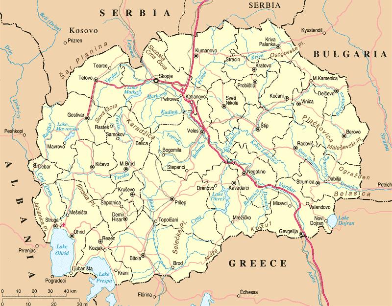 Mapa drogowa Macedonii