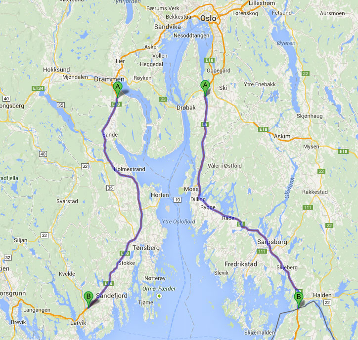 Map of areas with a maximum speed of 110 km / h in Norway