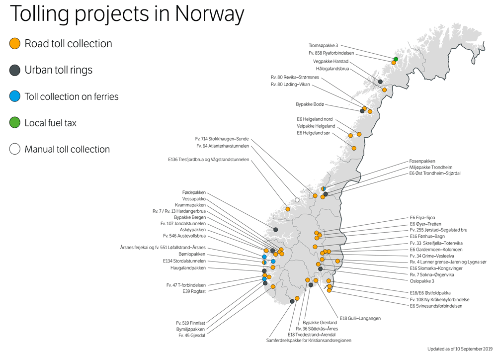 Norway toll road map 2019