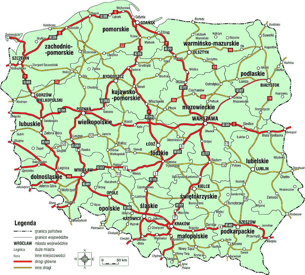 Mappa stradale della Polonia