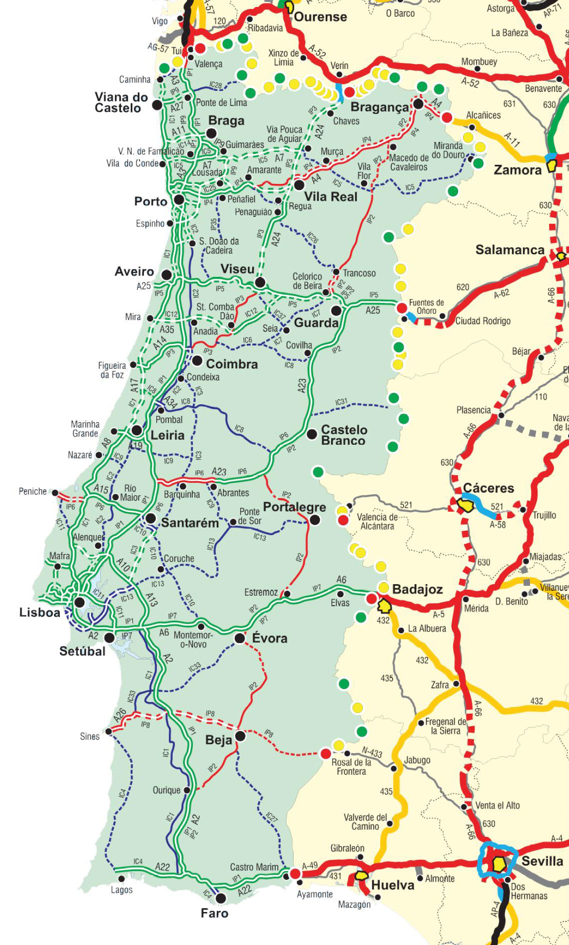 Karta cesta Portugal