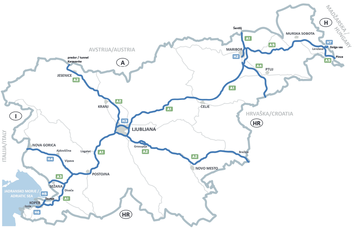 Mappa dei tratti stradali a pedaggio in Slovenia 2021