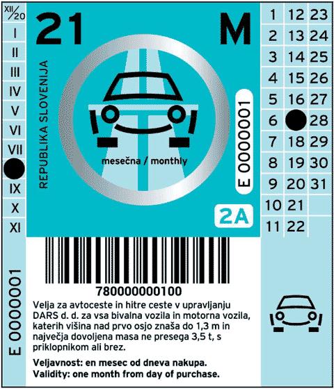 Bollo sloveno 2021 per un mese per veicoli della categoria 2A