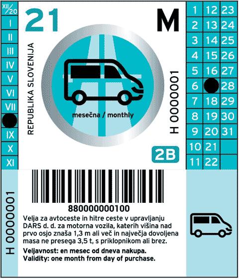 Bollo sloveno 2021 per un mese per veicoli di categoria 2B