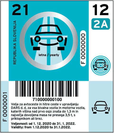 Vignetta dalla Slovenia 2021 per l'anno per veicoli della categoria 2A