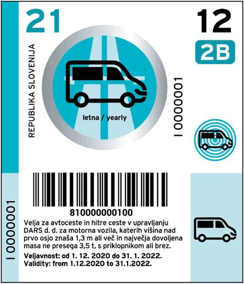 Vignetta dalla Slovenia 2021 per l'anno per veicoli della categoria 2B