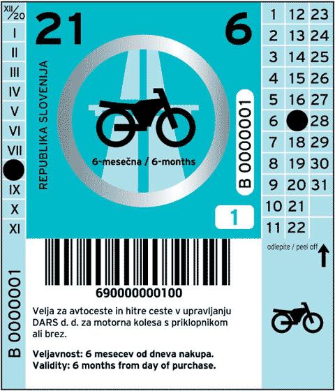 Vignetta Slovenia 2021 per 6 mesi per i motocicli