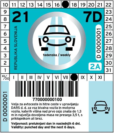 Vignetta dalla Slovenia 2021 per una settimana per veicoli della categoria 2A