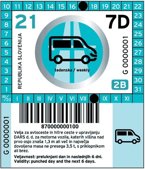 Vignetta dalla Slovenia 2021 per una settimana per veicoli della categoria 2B