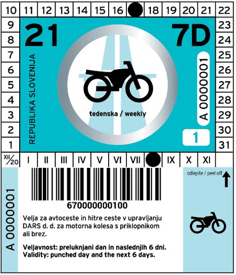 Slovenia vignetta 2021 per la settimana per le moto motorcycle
