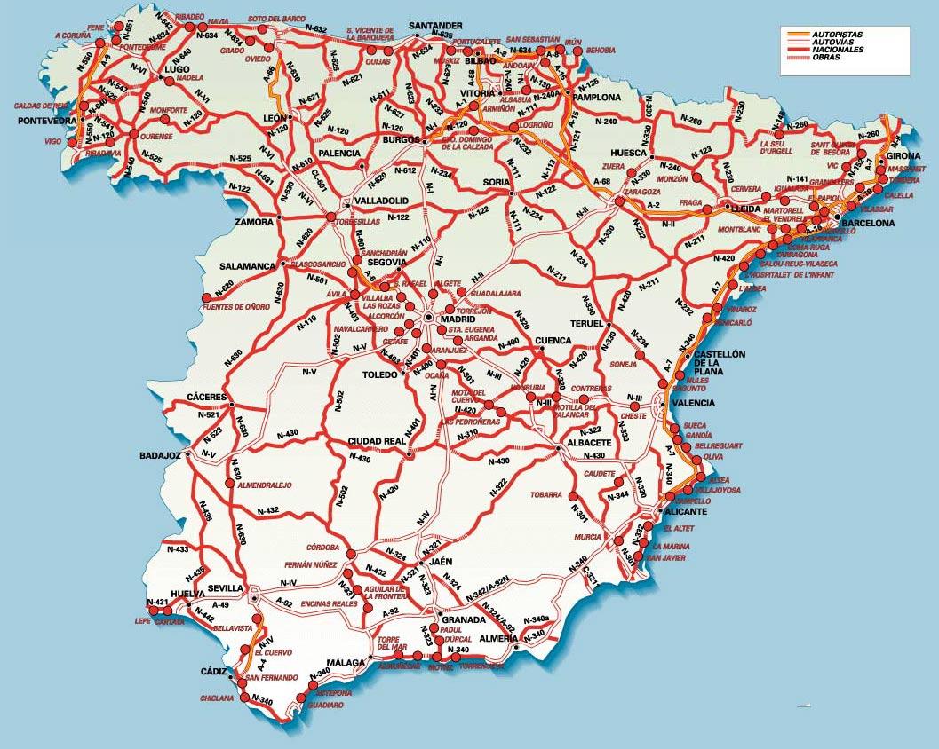 Mapa drogowa Hiszpanii