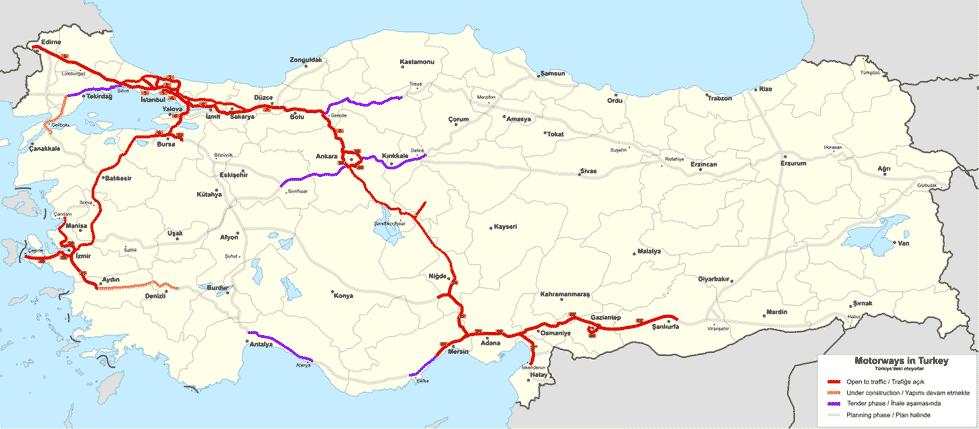 Türkei Straßenkarte